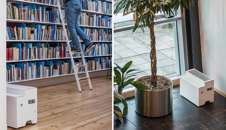 Nawilżacz powietrza VIENNA w księgarni i korytarzu
